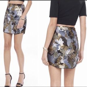 Express Trendy Gold and Silver Sequin Mini Skirt